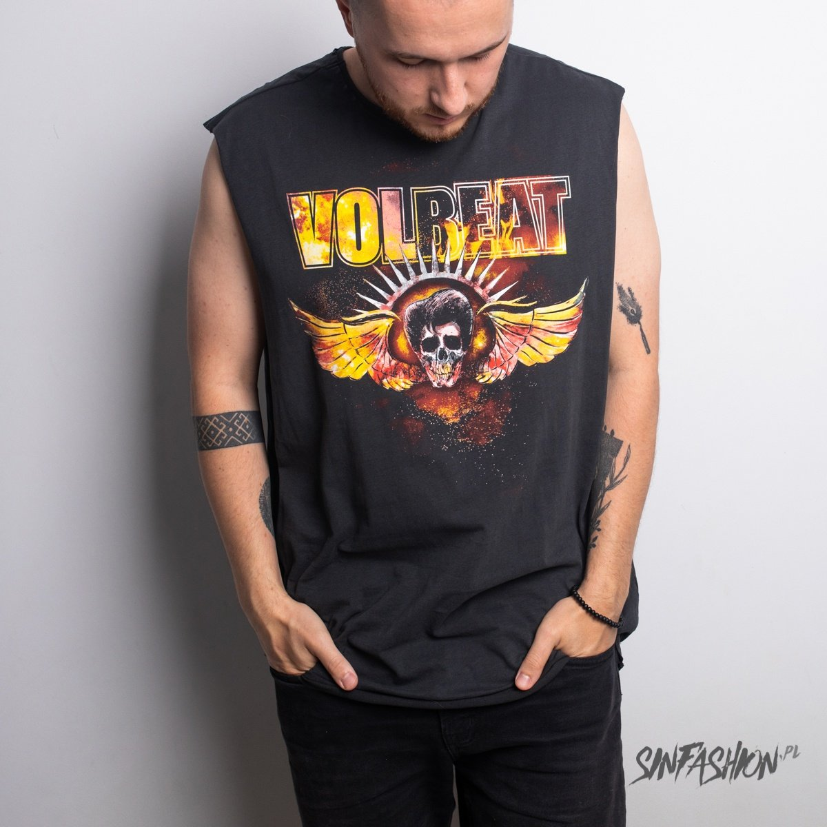 Top Amplified Volbeat Skull Wings Sleeveless